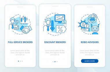 Stockbroker types onboarding mobile app page screen with concepts. Full service, AI advisors walkthrough 3 steps graphic instructions. UI, UX, GUI vector template with linear color illustrations