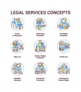 Legal services concept icons set. Access to education. Bankruptcy assistance. Civil rights protection idea thin line RGB color illustrations. Vector isolated outline drawings. Editable stroke icon