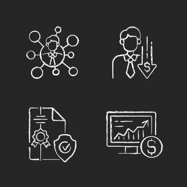 Brokerage service chalk white icons set on black background. Broker connection. Discount, financial recession. Intellectual property. Online stock trading. Isolated vector chalkboard illustrations icon