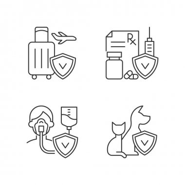 Insurance and protection linear icons set. Reimbursement for traveling expenses. High medicative costs. Customizable thin line contour symbols. Isolated vector outline illustrations. Editable stroke icon