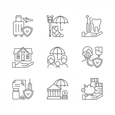 Insurance and protection linear icons set. Covering traveling costs. Dentist visit. Life policies. Customizable thin line contour symbols. Isolated vector outline illustrations. Editable stroke icon