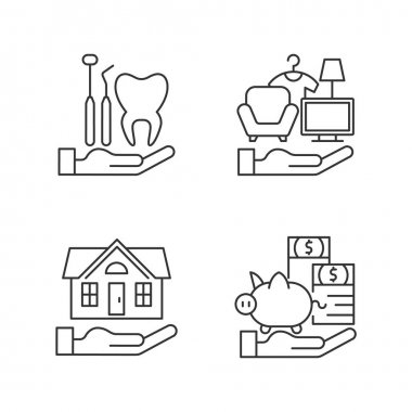 Insurance and protection linear icons set. Dental care. Property coverage. Repairing, rebuilding house. Customizable thin line contour symbols. Isolated vector outline illustrations. Editable stroke icon