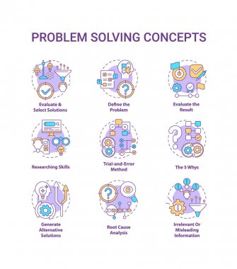 Problem solving concept icons set. Evaluate and select solution. Researching skills. Creative thinking idea thin line RGB color illustrations. Vector isolated outline drawings. Editable stroke icon
