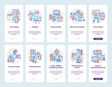 Buying and selling stocks onboarding mobile app page screen with concepts set. Trading style, type walkthrough 5 steps graphic instructions. UI, UX, GUI vector template with linear color illustrations