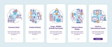 Stocks types onboarding mobile app page screen with concepts. Common, preference, industry walkthrough 5 steps graphic instructions. UI, UX, GUI vector template with linear color illustrations