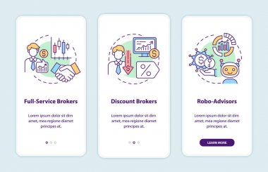 Broker types onboarding mobile app page screen with concepts. Full service, discount stockbrokers walkthrough 3 steps graphic instructions. UI, UX, GUI vector template with linear color illustrations