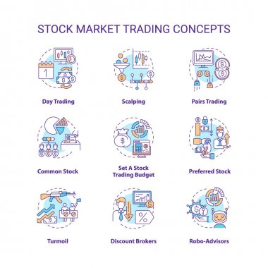 Stock market trading concept icons set. Investing in stock idea thin line RGB color illustrations. Day trader. Common, preferred type. Setting budget. Vector isolated outline drawings. Editable stroke