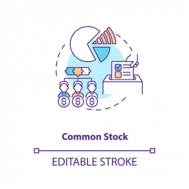 Common stock concept icon. Stock type idea thin line illustration. Owning share in company profits. Corporate equity ownership. Vector isolated outline RGB color drawing. Editable stroke