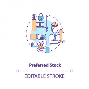 Preferred stock concept icon. Stock type idea thin line illustration. Company assets. Equity securities. Ownership stake in corporation. Vector isolated outline RGB color drawing. Editable stroke