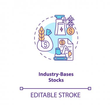 Industry-based stocks concept icon. Stock type idea thin line illustration. Company sectors. Industrial stocks. Profit generation. Vector isolated outline RGB color drawing. Editable stroke