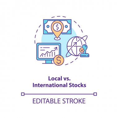 Local vs. international stocks concept icon. Stock type idea thin line illustration. Location. Holding securities from different regions. Vector isolated outline RGB color drawing. Editable stroke