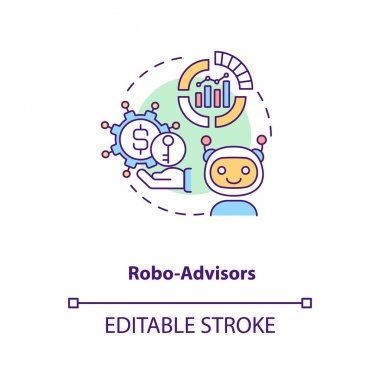 Robo-advisors concept icon. Broker type idea thin line illustration. Human supervision absence. Automated financial planning tools. Vector isolated outline RGB color drawing. Editable stroke