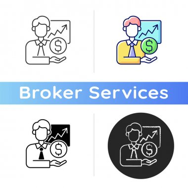 Sponsorship broker icon. Increasing financial chart. Brokerage service. Trading stock specialist. Control revenue from investment. Linear black and RGB color styles. Isolated vector illustrations icon