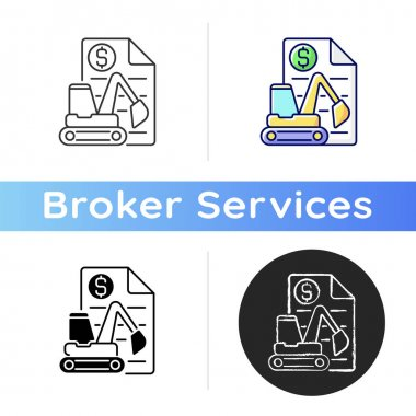 Equipment leasing broker icon. Brokerage services for business. Financial deal. Manufactrure production, commercial deal. Linear black and RGB color styles. Isolated vector illustrations icon