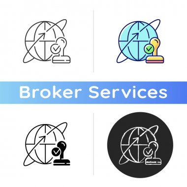 Custom broker icon. Global distribution. International shipment. Importing and exporting goods. Trading deal for business. Linear black and RGB color styles. Isolated vector illustrations icon