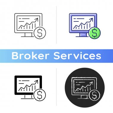 Online stock trading icon. Computer monitor with increasing chart. Bussiness investment. Analysis on screen. Broker service. Linear black and RGB color styles. Isolated vector illustrations icon