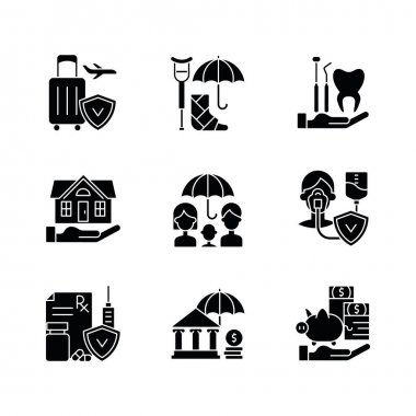 Insurance and protection black glyph icons set on white space. Covering traveling costs. Disability. Dentist visit. Life policies. Home insurance. Silhouette symbols. Vector isolated illustration icon