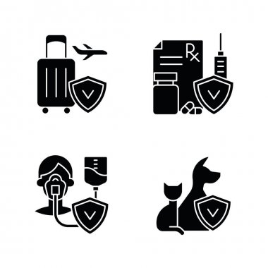 Insurance and protection black glyph icons set on white space. Reimbursement for traveling expenses. High medicative costs. Critical illness payout. Silhouette symbols. Vector isolated illustration icon
