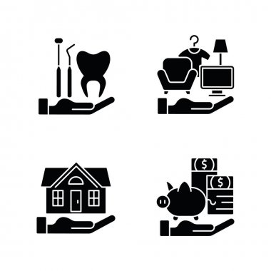 Insurance and protection black glyph icons set on white space. Dental care. Property coverage. Payment protection. Repairing and rebuilding house. Silhouette symbols. Vector isolated illustration icon