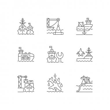 Shipping industry linear icons set. Naval fleet. Underwater construction. Anchorage. Car shipping. Customizable thin line contour symbols. Isolated vector outline illustrations. Editable stroke icon