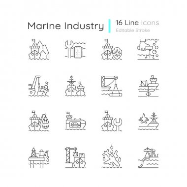 Marine industry linear icons set. Arctic exploration. Underwater pipeline repair. Maritime security. Customizable thin line contour symbols. Isolated vector outline illustrations. Editable stroke icon