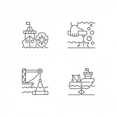 Maritime industry linear icons set. Search and rescue provision. Underwater welding. Anchored ship. Customizable thin line contour symbols. Isolated vector outline illustrations. Editable stroke icon