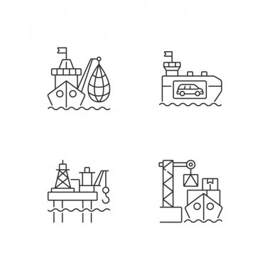Marine industry sector linear icons set. Industrial fishing. Vehicle carrier ship. Offshore oil platform. Customizable thin line contour symbols. Isolated vector outline illustrations. Editable stroke icon