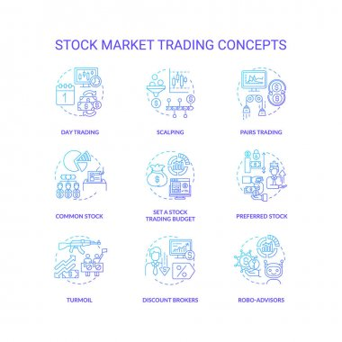Stock market trading concept icons set. Investing in stock idea thin line RGB color illustrations. Buying assets. Investment strategy. Robo-advisors. Setting budget. Vector isolated outline drawings icon