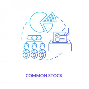 Common stock concept icon. Stock type idea thin line illustration. Directors board. Bondholder, stockholder. Firm income. Voting on corporate policies. Vector isolated outline RGB color drawing