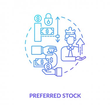 Preferred stock concept icon. Stock type idea thin line illustration. Share capital. Preference in dividend payments. Protections for shareholders. Vector isolated outline RGB color drawing