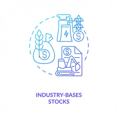 Industry-based stocks concept icon. Stock type idea thin line illustration. Technology, energy sector. Purchasing, selling and leasing. Profit generation. Vector isolated outline RGB color drawing
