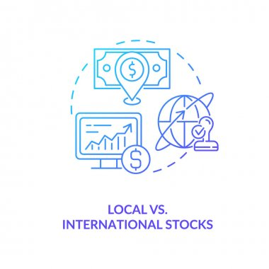 Local vs. international stocks concept icon. Stock type idea thin line illustration. Markets development. Geographical diversification. Minimizing risk. Vector isolated outline RGB color drawing