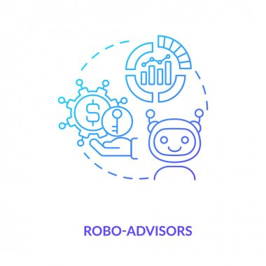 Robo-advisors concept icon. Broker type idea thin line illustration. Low-cost financial researches, advices. Digital platforms. Online investment management. Vector isolated outline RGB color drawing