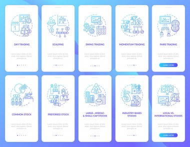 Stock market trading onboarding mobile app page screen with concepts set. Stockbroker style, type walkthrough 5 steps graphic instructions. UI, UX, GUI vector template with linear color illustrations