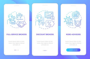 Trader types onboarding mobile app page screen with concepts. Licensed, automated stockbrokers walkthrough 3 steps graphic instructions. UI, UX, GUI vector template with linear color illustrations