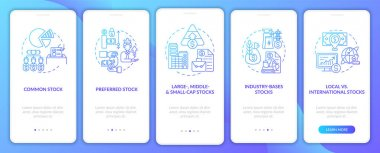 Stocks variety onboarding mobile app page screen with concepts. Common, local, industry-based type walkthrough 5 steps graphic instructions. UI, UX, GUI vector template with linear color illustrations