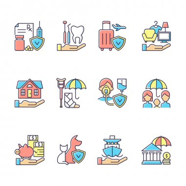 Insurance and protection RGB color icons set. Insured event. Prescription drugs. Dental care. Traveling costs. Compensation. Medical conditions. Financial problems. Isolated vector illustrations icon