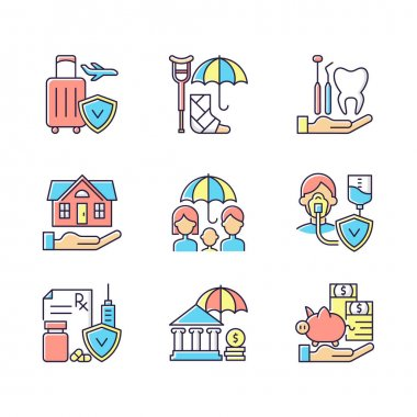 Insurance and protection RGB color icons set. Covering traveling costs. Disability. Dentist visit. Critical illness payout. Protection against economic risks. Isolated vector illustrations icon