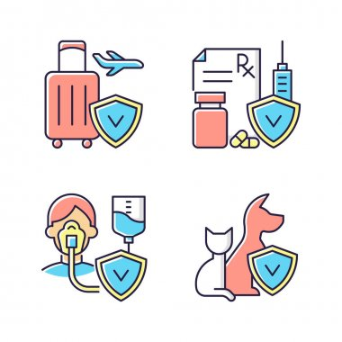 Insurance and protection RGB color icons set. Reimbursement for expenses. High medicative costs. Critical illness payout. Pet-care policy. Payment for prescription drug. Isolated vector illustrations icon
