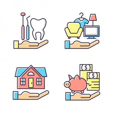 Insurance and protection RGB color icons set. Dental care. Property coverage. Payment protection. Repairing house. Healthy teeth achieving. Possessions insurance. Isolated vector illustrations icon