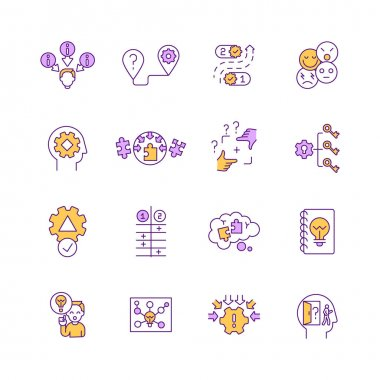 Problem solving, decision making RGB color icons set. Creative thinking. Decision making. Researching for project. Soft skills for completing task. Business planning. Isolated vector illustrations icon