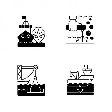 Maritime industry black linear icons set. Search and rescue provision. Underwater welding. Marine construction industry. Anchored ship. Glyph contour symbols. Vector isolated outline illustrations icon