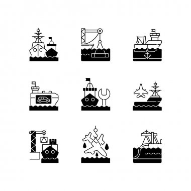 Shipping industry black linear icons set. Naval fleet. Underwater construction. Anchorage. Vehicle carrier ship. Repairing floating vessel. Glyph contour symbols. Vector isolated outline illustrations icon