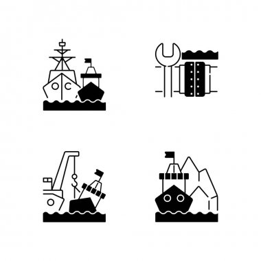 Maritime structures and regulation black linear icons set. Military force unit. Underwater pipeline repair. Towing, re-floating. Glyph contour symbols. Vector isolated outline illustrations icon