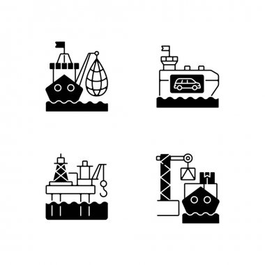 Marine industry sector black linear icons set. Industrial fishing. Vehicle carrier ship. Offshore oil platform. Cargo loading. Glyph contour symbols. Vector isolated outline illustrations icon