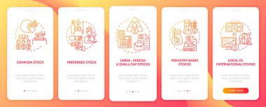 Assets types onboarding mobile app page screen with concepts. Large, small, global, local stocks walkthrough 5 steps graphic instructions. UI, UX, GUI vector template with linear color illustrations