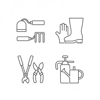 Gardening supplies linear icons set. Hoe and fork hoes. Gloves, boots. Clippers, secateurs. Watering can. Customizable thin line contour symbols. Isolated vector outline illustrations. Editable stroke icon