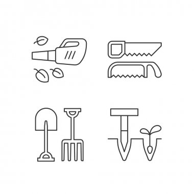 Garden instruments linear icons set. Leaf blower. Saws. Fork, spade. Cleaning up leaves. Loosening soil. Customizable thin line contour symbols. Isolated vector outline illustrations. Editable stroke icon