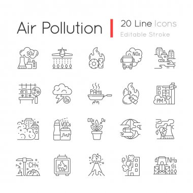 Air pollution linear icons set. Fighting pollution disaster problems. People damaging own home. Customizable thin line contour symbols. Isolated vector outline illustrations. Editable stroke icon