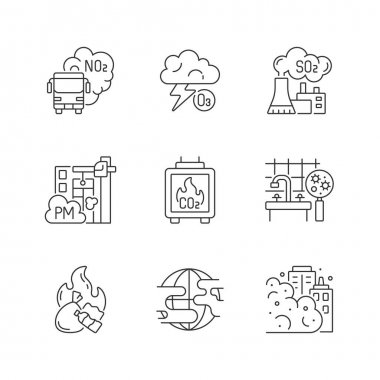 Air pollution linear icons set. Dangerous and toxic dust in air. Health problems because of pollution. Customizable thin line contour symbols. Isolated vector outline illustrations. Editable stroke icon